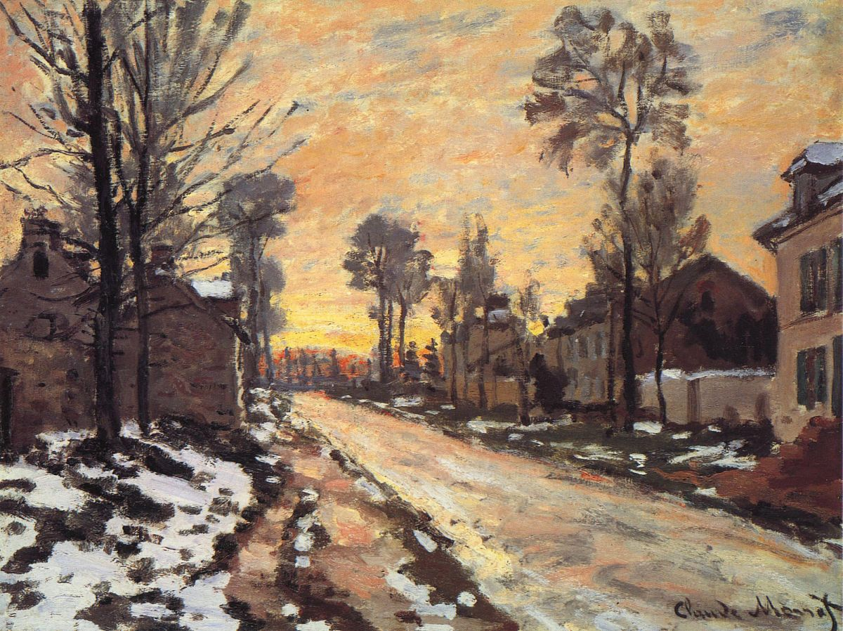 road-at-louveciennes-melting-snow-sunset