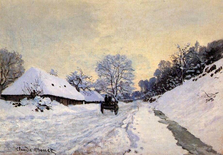 The Cart. Snow-Covered Road at Honfleur 1867