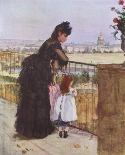 Woman and child on the balcony 1872