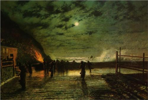 In Peril (The Harbour Flare) - John Atkinson Grimshaw, 1879