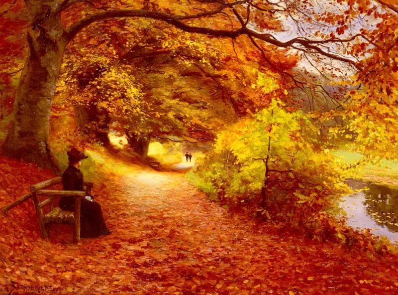Hans Anderson Brendekilde A Wooded Path In Autumn