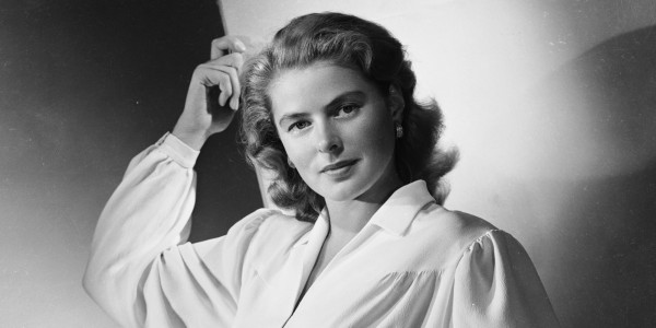 1946:  Film star Ingrid Bergman (1915 - 1982) wearing a blouse with full sleeves gathered to tight cuffs, a broad belt and soflty draped skirt.  (Photo by Ernest Bachrach/John Kobal Foundation/Getty Images)
