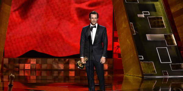 "IMAGE DISTRIBUTED FOR THE TELEVISION ACADEMY - Jon Hamm accepts the award for outstanding lead actor in a drama series for ""Mad Men"" at the 67th Primetime Emmy Awards on Sunday, Sept. 20, 2015, at the Microsoft Theater in Los Angeles. (Photo by Phil McCarten/Invision for the Television Academy/AP Images)"