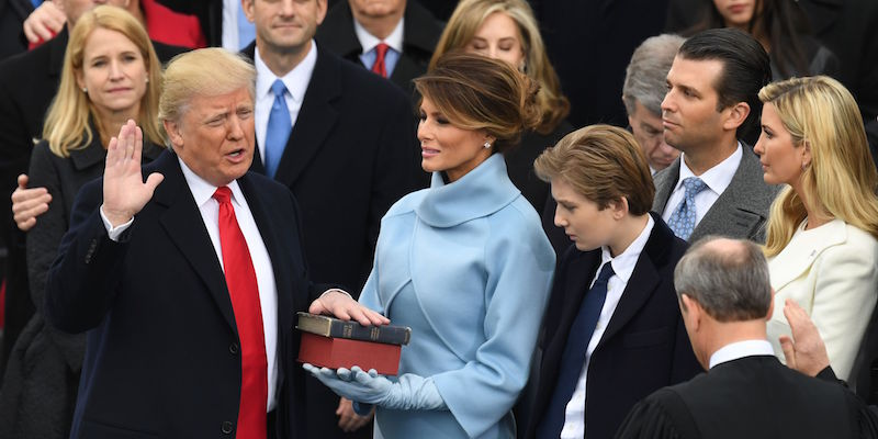 US President-elect Donald Trump is sworn in as President on January 20, 2017 at the US Capitol in Washington, DC. / AFP / Mark RALSTON        (Photo credit should read MARK RALSTON/AFP/Getty Images)